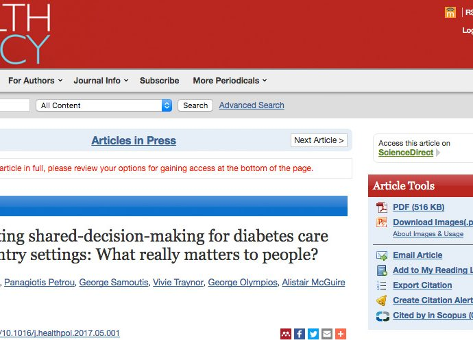Implementing shared-decision-making for diabetes care across country settings: What really matters to people?