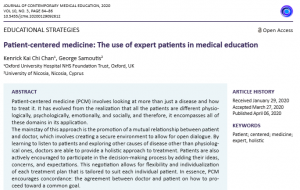 Patient-centered medicine: The use of expert patients in medical education